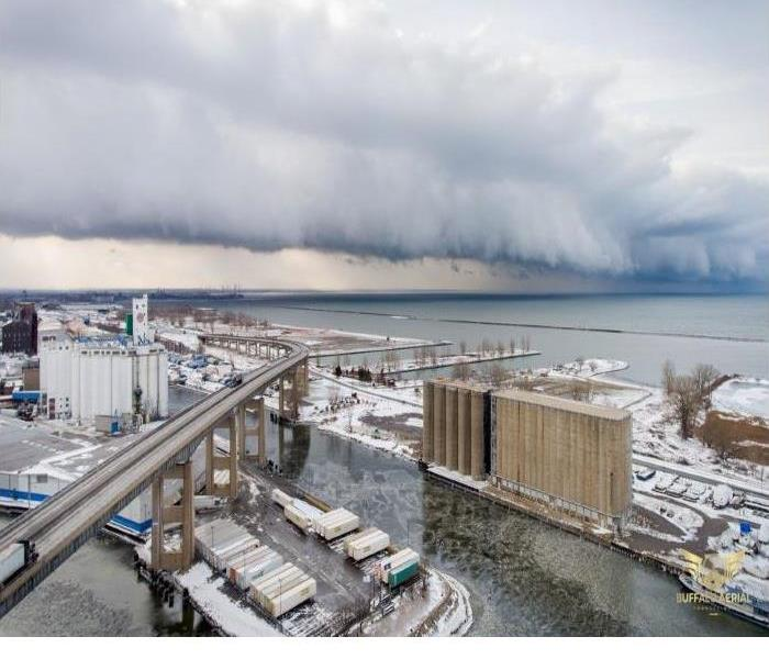 Lake effect snow gathers in the air above Buffalo